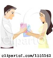 Poster, Art Print Of Couple Trading Books