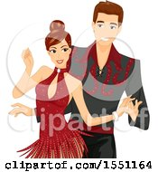 Clipart Of A Ballroom Dancer Couple Royalty Free Vector Illustration
