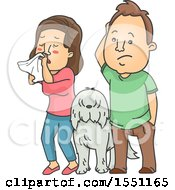 Clipart Of A Dog Between A Couple The Woman With Allergies Royalty Free Vector Illustration