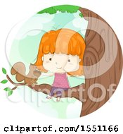 Red Haired Girl Petting A Squirrel