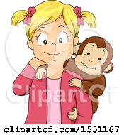Clipart Of A Happy Girl With A Pet Monkey On Her Shoulder Royalty Free Vector Illustration by BNP Design Studio