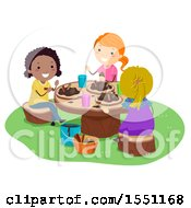 Clipart Of A Group Of Girls Playing With Mud Royalty Free Vector Illustration by BNP Design Studio