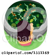 Clipart Of A Girl Feeding Koi Fish In A Pond Royalty Free Vector Illustration