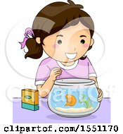 Clipart Of A Happy Girl Feeding Her Pet Gold Fish Royalty Free Vector Illustration