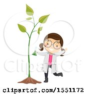 Clipart Of A Girl Scientist Using Fertilizer To Make A Plant Grow Big Royalty Free Vector Illustration