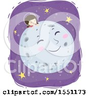 Clipart Of A Girl Astronaut Resting On A Happy Moon Royalty Free Vector Illustration