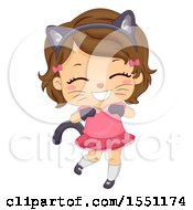 Clipart Of A Girl Wearing A Cat Costume Royalty Free Vector Illustration