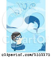 Boy In A Boat Waving At A Whale Spouting The Word Blue