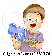 Clipart Of A Boy Holding A Book About Reptiles And Holding His Pet Turtle Royalty Free Vector Illustration