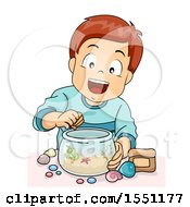 Clipart Of A Boy Decorating A Fish Bowl Royalty Free Vector Illustration