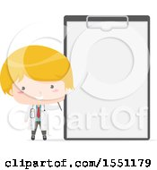 Clipart Of A Blond Boy Doctor By A Giant Clipboard Royalty Free Vector Illustration by BNP Design Studio