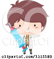Clipart Of A Doctor Boy Holding A Giant Syringe Royalty Free Vector Illustration