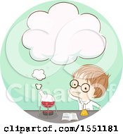 Clipart Of A Boy Scientist Conducting An Experiement With A Thought Cloud Emerging From A Container Royalty Free Vector Illustration