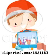 Clipart Of A Boy With A First Aid Kit Royalty Free Vector Illustration