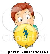 Boy Holding Up A Friction Balloon