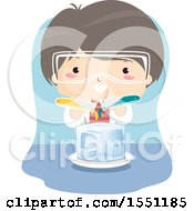Clipart Of A Boy Pouring Liquid Over Ice In Science Class Royalty Free Vector Illustration