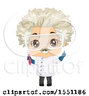 Clipart Of A Mad Scientist Boy Holding A Test Tube Royalty Free Vector Illustration by BNP Design Studio