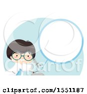 Clipart Of A Boy Using A Science Lab Microscope Showing A Zoomed In Circle Of A Specimen Royalty Free Vector Illustration