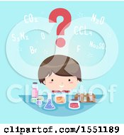 Clipart Of A Boy With A Question Mark Over His Head Looking At Science Containers Royalty Free Vector Illustration by BNP Design Studio