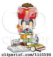 Clipart Of A Boy Sitting On A Stack Of Books And Reading Anouy Physics Royalty Free Vector Illustration by BNP Design Studio