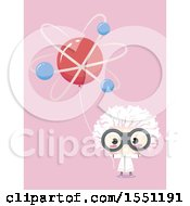 Clipart Of A Mad Scientist Boy Holding An Atom Balloon On Pink Royalty Free Vector Illustration