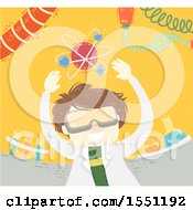 Clipart Of A Scientist Boy With An Atom Over His Head Royalty Free Vector Illustration