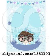 Clipart Of A Scientist Boy On A Themed Invitation Royalty Free Vector Illustration