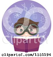 Scientist Boy Reading A Book In A Circle Of Chemistry Elements