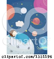 Clipart Of A Boy Astronaut Sleeping On The Moon Royalty Free Vector Illustration