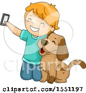 Clipart Of A Boy Kneeling To Take A Selfie With His Dog Royalty Free Vector Illustration