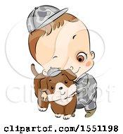Poster, Art Print Of Boy In An Army Uniform Hugging A Dog