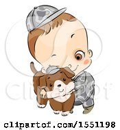 Clipart Of A Boy In An Army Uniform Hugging A Dog Royalty Free Vector Illustration