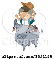 Clipart Of A Boy Student Riding A Carabao Royalty Free Vector Illustration by BNP Design Studio
