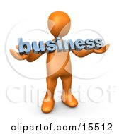 Orange Person Holding A Blue Business Sign Clipart Illustration Image