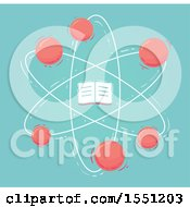Clipart Of A Book Atom On Blue Royalty Free Vector Illustration