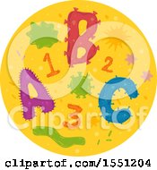 Clipart Of A Microscopic View Of Abc And 123 Bacteria Royalty Free Vector Illustration