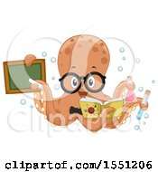 Clipart Of A Chemistry Teacher Octopus Holding A Chalkboard Chemicals And Book Royalty Free Vector Illustration