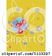 Clipart Of An Atom With Negative And Positive Charges Royalty Free Vector Illustration