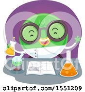 Clipart Of A Scientist Monster Conducting An Experiment Royalty Free Vector Illustration