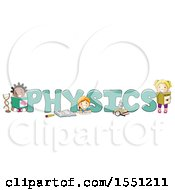 Clipart Of A Group Of School Children Around The Word PHYSICS Royalty Free Vector Illustration