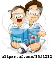 Clipart Of A School Boy Reading A Science Book To His Little Sister Royalty Free Vector Illustration