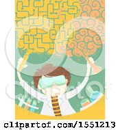 Clipart Of A Scientist Man Forming A Brain Cloud In A Lab Royalty Free Vector Illustration by BNP Design Studio