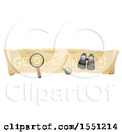 Poster, Art Print Of Scroll Map With Geography Text A Compass Binoculars And Magnifying Glass