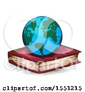Clipart Of A Globe Resting On A Book Royalty Free Vector Illustration by BNP Design Studio