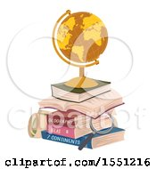 Poster, Art Print Of Golden Desk Globe On A Stack Of Books