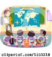 Poster, Art Print Of Group Of Children Listening To Their Teacher In Geography Class