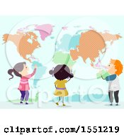 Poster, Art Print Of Group Of Children Studying A Patterned World Map