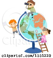 Poster, Art Print Of Group Of Children Playing Around A Desk Globe