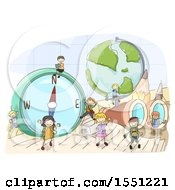 Poster, Art Print Of Group Of Children With Giant Geography Elements