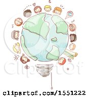 Poster, Art Print Of Group Of Children Around A Sketched Light Bulb Globe
